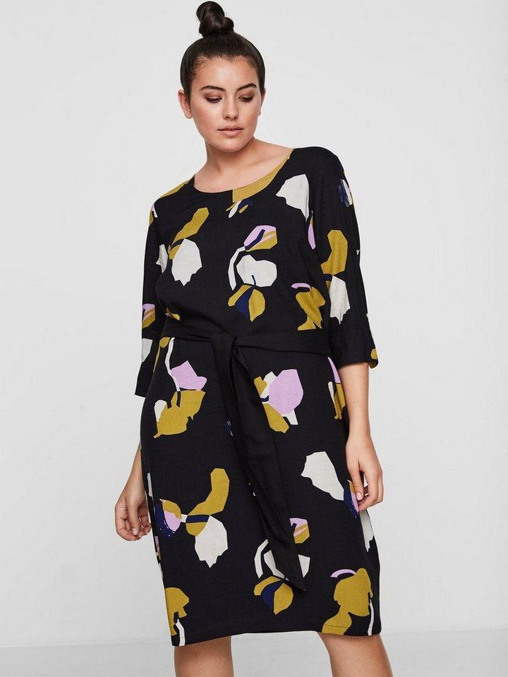 Junarose Gedessineerde met strikkoord jurk zwart