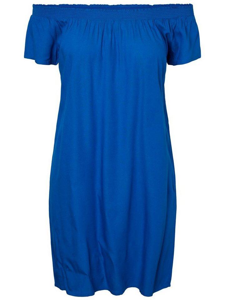 Pieces Effen off-shoulder jurk blauw