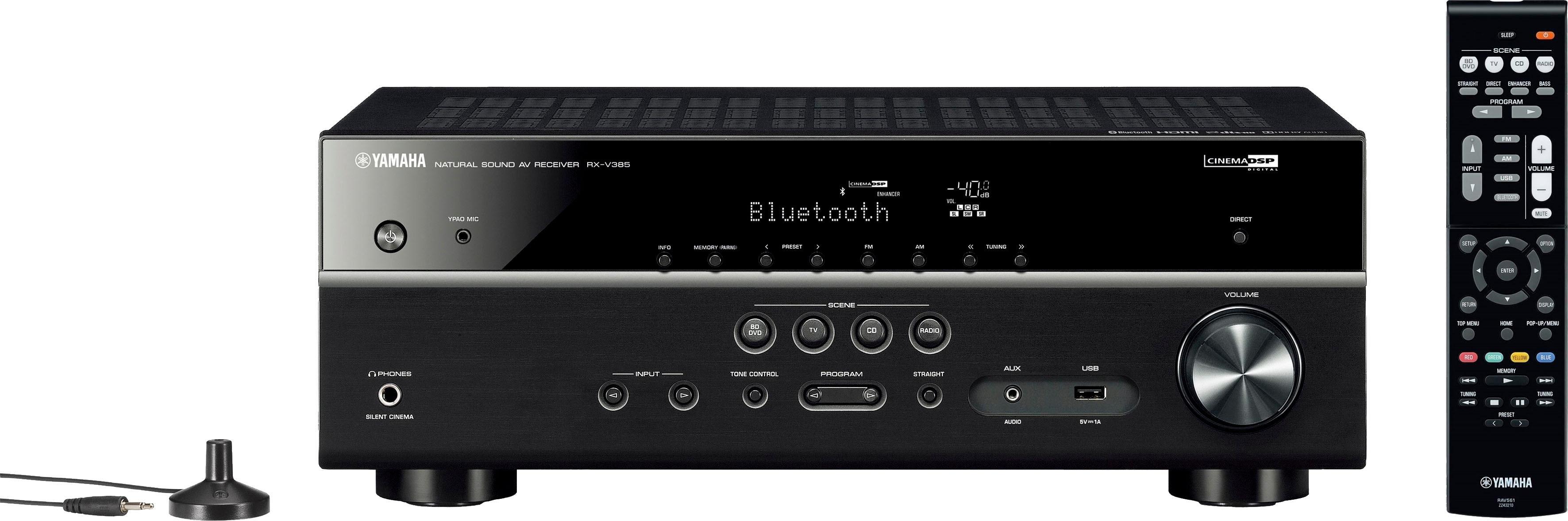 Yamaha »RX-V385« 5.1 AV-receiver (LAN (ethernet), Bluetooth, wifi, 4K-upscalingtechniek) nu online kopen bij OTTO