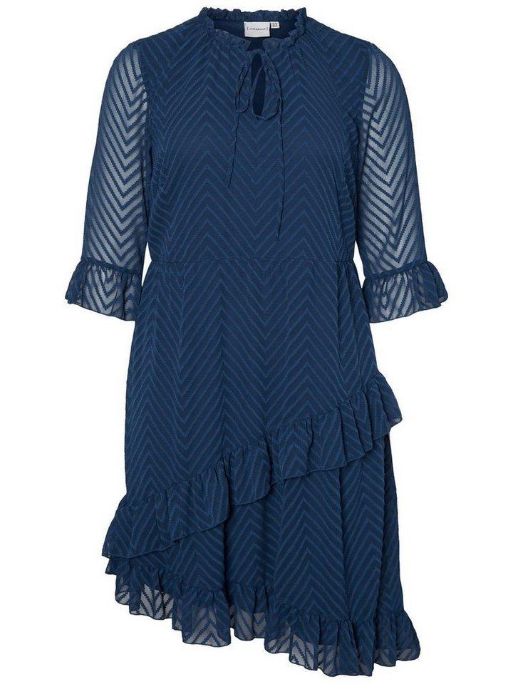 Junarose 3/4-mouwen jurk blauw