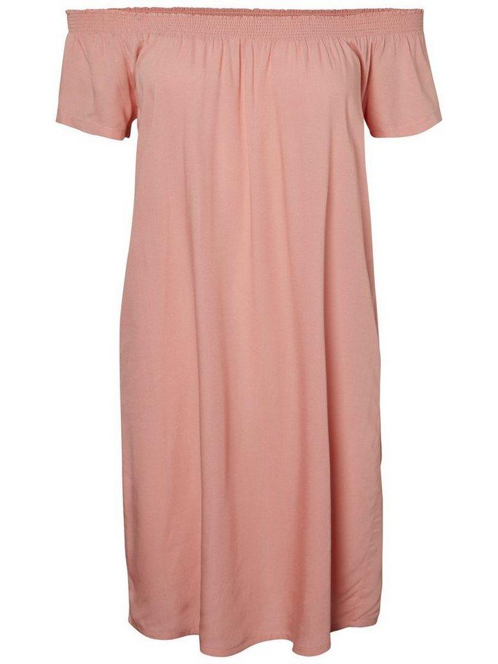 Pieces Effen off-shoulder jurk roze