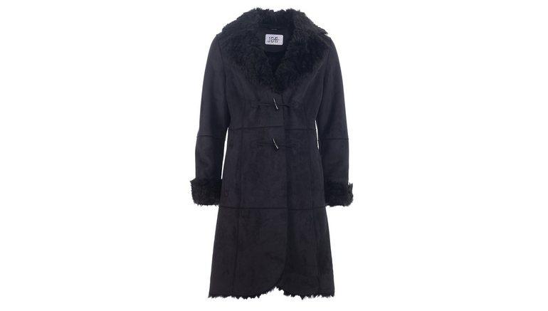 JCC lange jas van imitatiebont C-12-13-Barbarea Textielen jas fluweel imitatiebont bij de kraag en de mouwboorden