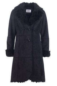 jcc mantel van textiel met imitatiebont bij de kraag en de mouwranden »c-12-13-barbarea« zwart