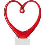 leonardo sculptuur, glas, 24 cm, »heart« rood