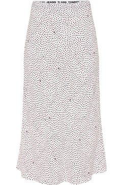 tommy jeans zomerrok tjw printed midi slip skirt met kleine stippen  tommy jeans monogram all-over wit
