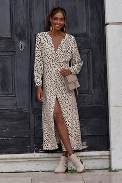 lascana maxi-jurk met dierenprint bruin
