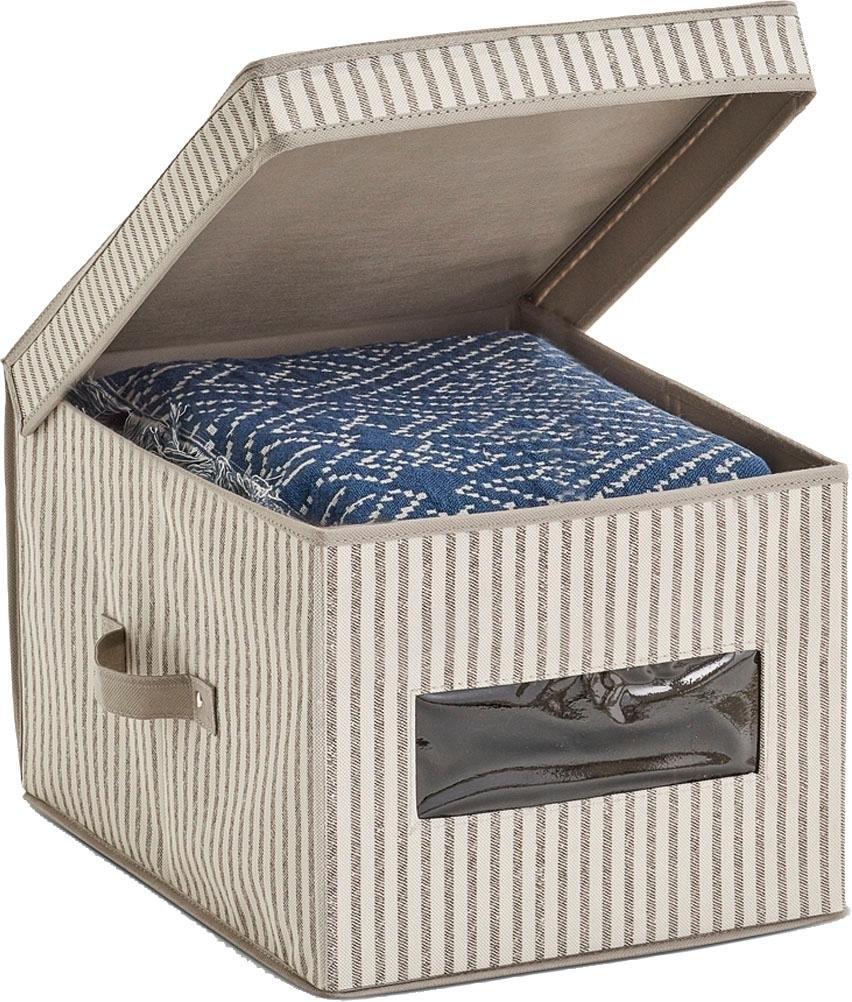 Zeller Present opbergbox Strepen Fleece, beige voordelig en veilig online kopen