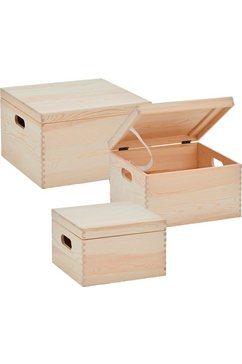 zeller present opbergbox met deksel (set, 3 stuks) beige