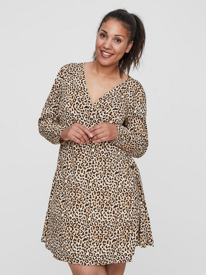 Junarose Luipaardprint overslag jurk bruin