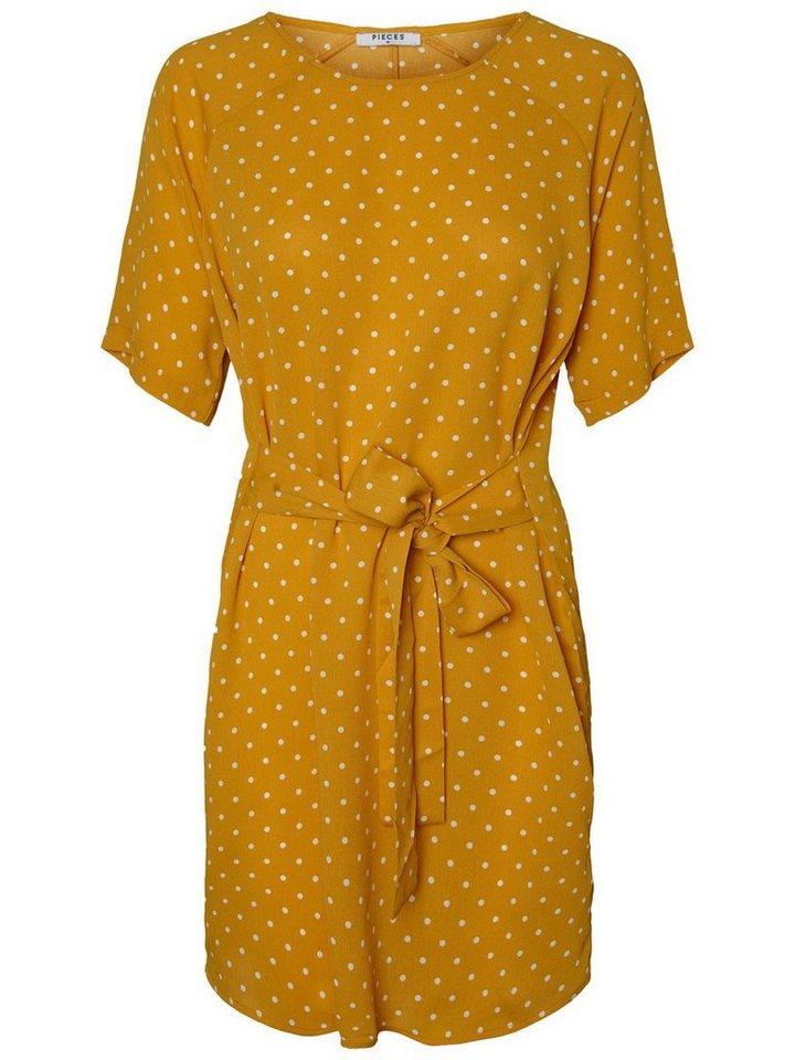 Pieces Midi met korte mouwen jurk goud