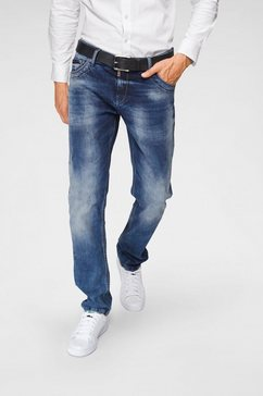 cipo  baxx regular fit jeans »red dot« blauw