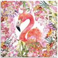 artland print op glas flamingo in bloemen jungle (1 stuk) roze