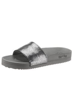flip flop slippers pool metallic cracked met metallic crush effect zilver