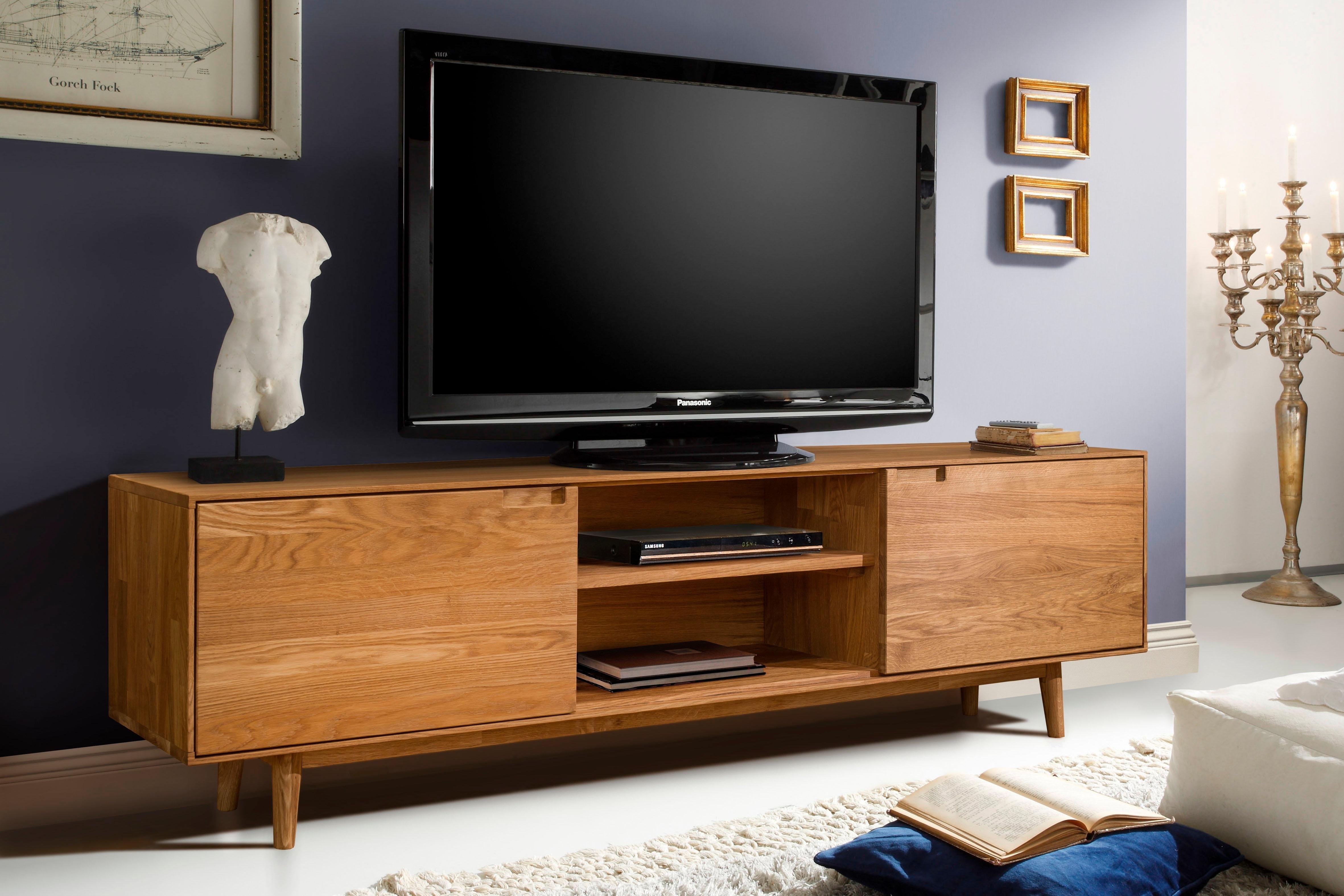 Home affaire tv-meubel Scandi van massief eikenhout, met zeer veel bergruimte, breedte 180 cm veilig op otto.nl kopen