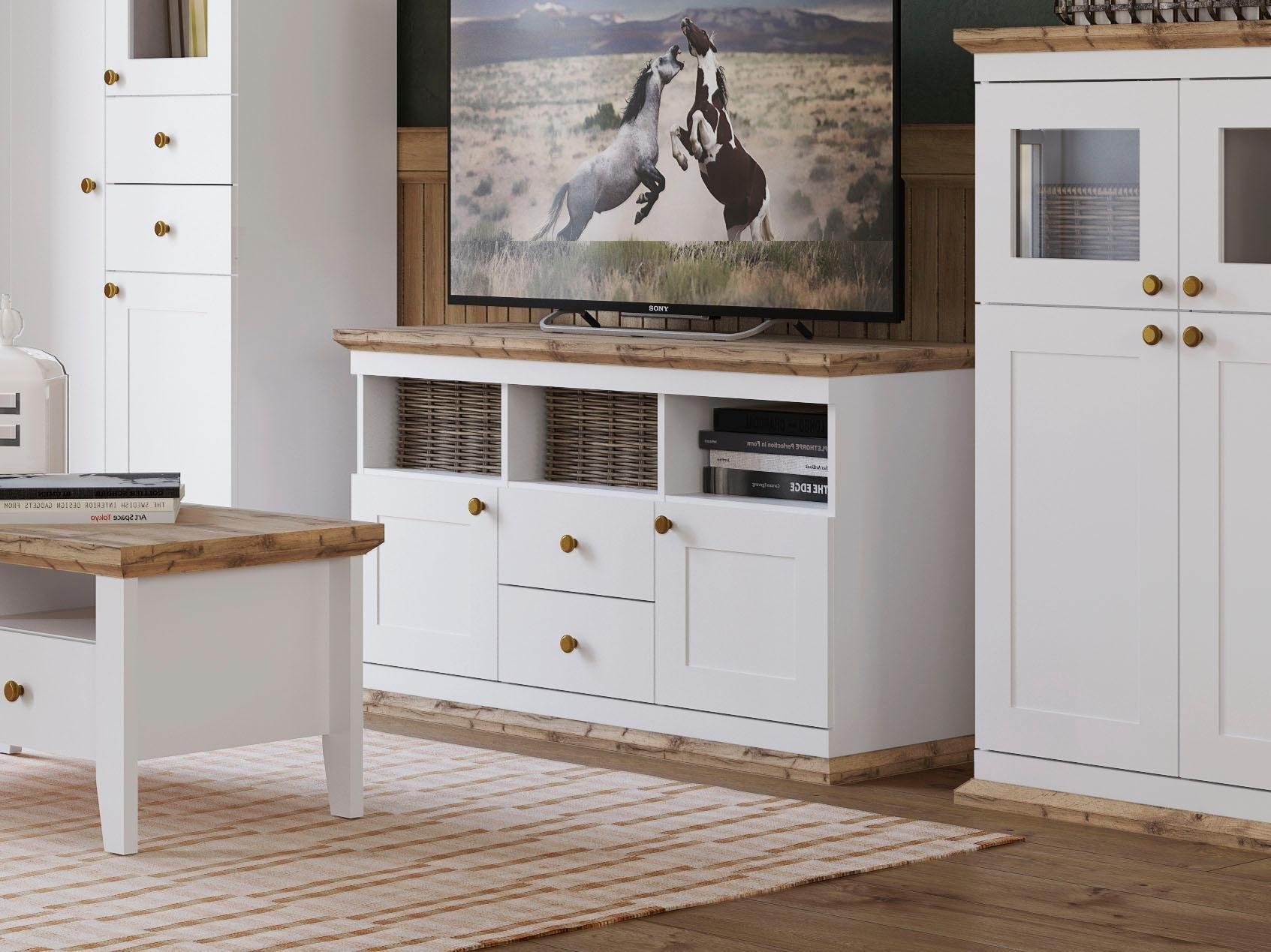 Wit Houten Tv Meubel.Home Affaire Tv Meubel Banburry Met 2 Houten Deuren 121 5 Cm