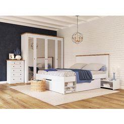 home affaire ledikant met bergruimte banburry inclusief 2 laden en 2 uittrekbare planken wit