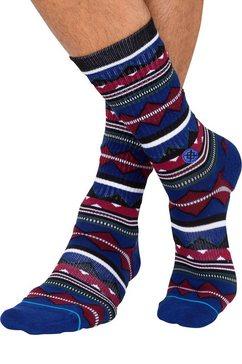 stance sokken »kern« met zigzagmotief blauw