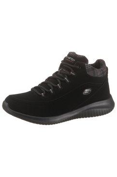 skechers hoge veterschoenen met zacht verdikte rand zwart