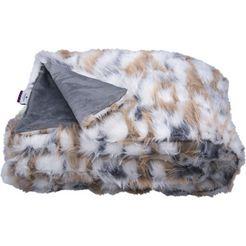 tom tailor deken cosy fur in echte huidlook beige