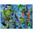 artland print op glas abstract vissen blauw (1 stuk) geel