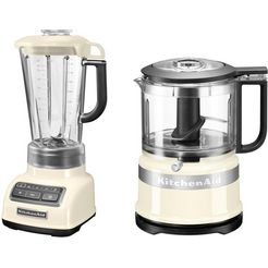 kitchenaid blender 5ksb1585eac en mini-hakmolen 5kfc3516 voordeelset beige