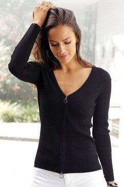 lascana vest met een ritssluiting zwart
