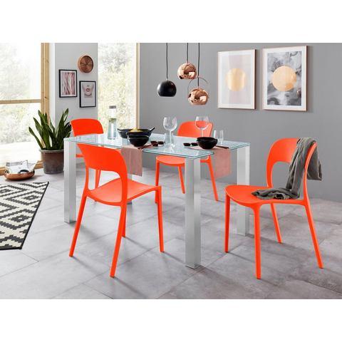 Eethoek met glazen tafel en 4 stoelen