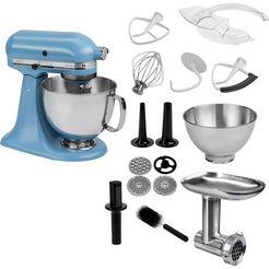 kitchenaid keukenmachine artisan 5ksm175psevb met gratis volledig metalen vleesmolen, 300 w blauw