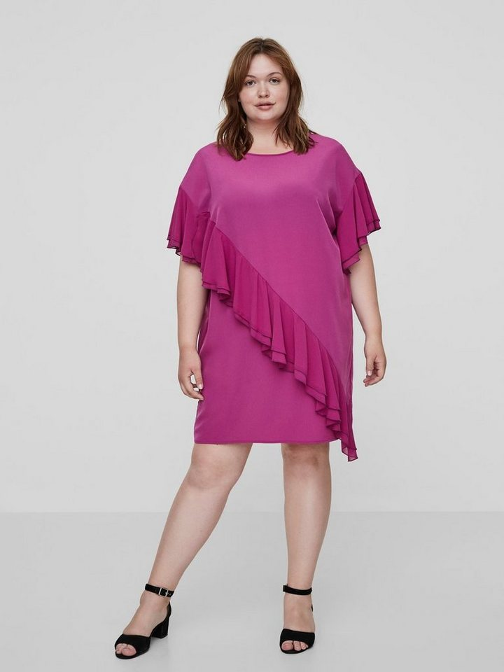 Junarose Ruche jurk roze