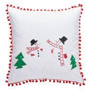 my home kussenovertrek sneeuwpoppen kerst versiering (1 stuk) rood