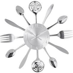 home affaire wandklok »cutlery« zilver