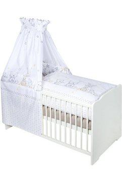 zoellner 7-dlg. kinderledikant »dierenvriend« bed+matras+hemelstang+hemel+hoofdbeschermer+overtrekset beige
