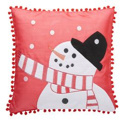 my home kussenovertrek sneeuwpop kerst versiering (1 stuk) rood