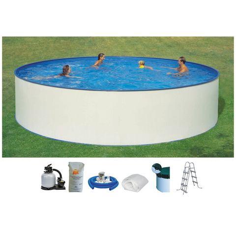 HANSEATIC set: Rond zwembad Complete set: rond zwembad met veiligheidstrap en filterinstallatie 6 m�