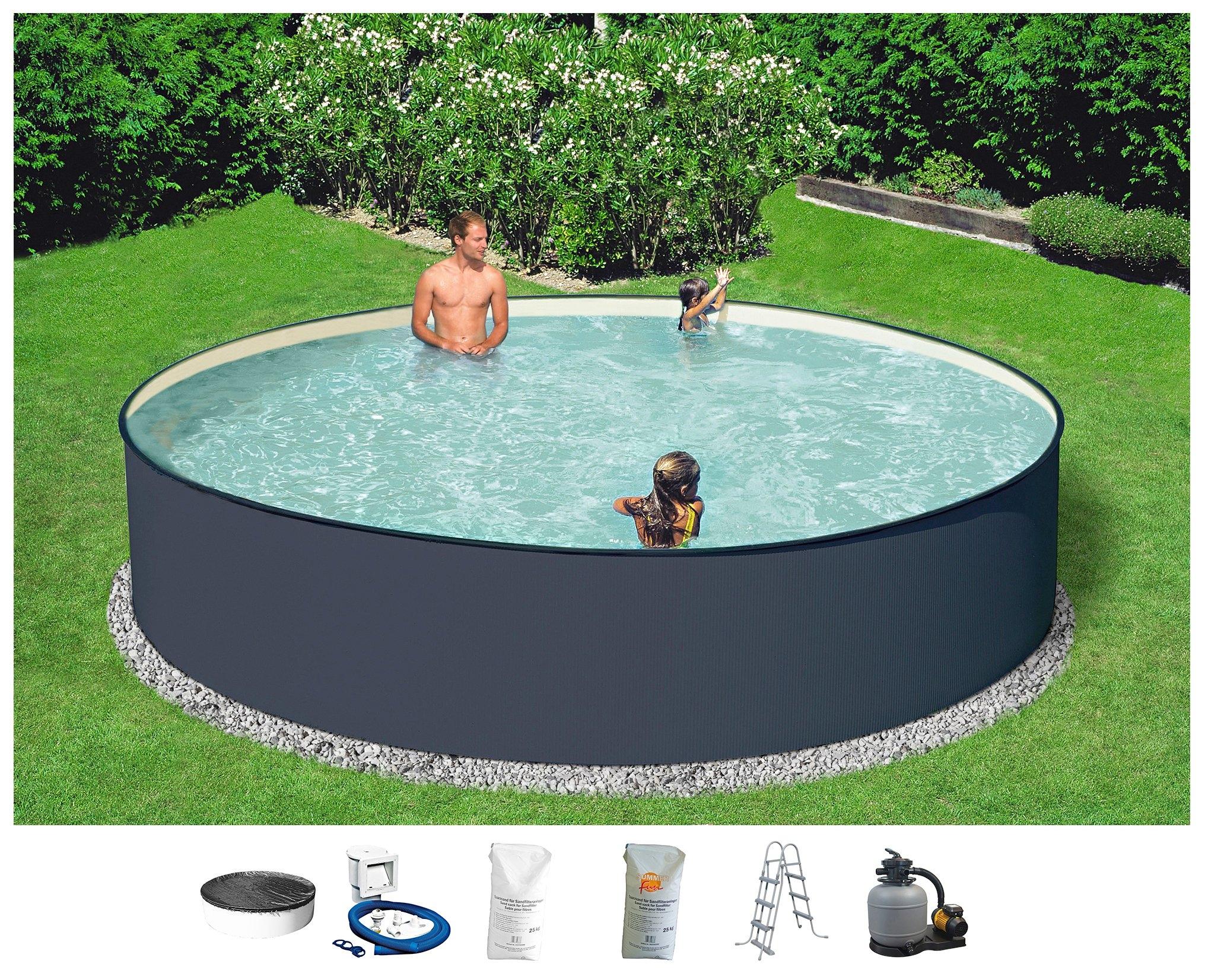Konifera Rond zwembad »Set: rond zwembad antraciet met veiligheidstrap en zandfilterinstallatie (6-dlg.)« online kopen op otto.nl