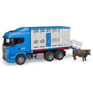 bruder speelgoedauto vrachtwagen 03581, »scania r-serie auto voor veevervoer met 1 koe« blauw