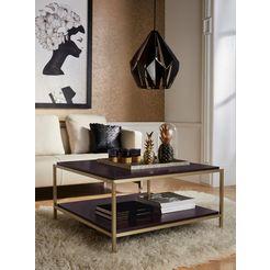leonique salontafel cherlen met twee planken en goudkleurig frame, vierkant bruin