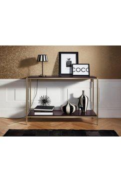 leonique sidetable cherlen met twee planken en goudkleurig metalen frame bruin