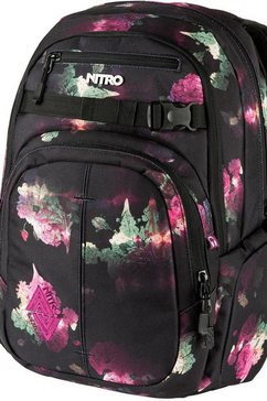 nitro schoolrugzak met laptopvak, »chase black rose« zwart