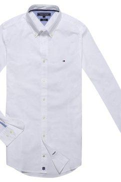 tommy hilfiger overhemd met lange mouwen »core stretch slim poplin shirt« wit