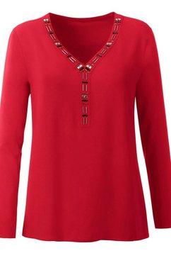 inspirationen blouse met siersteengarnering rood