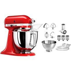 kitchenaid keukenmachine artisan 5ksm175pseer met gratis groentesnijder en 3 trommels, 300 w rood