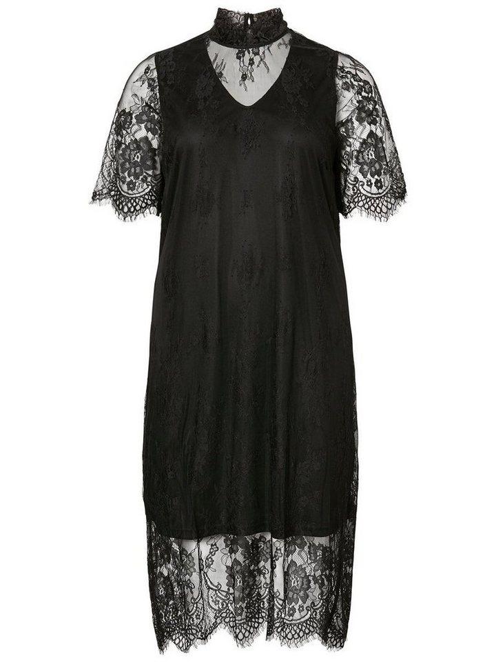 Junarose kanten midi jurk zwart