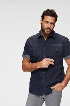 man's world overhemd met korte mouwen met contrastkleurig borduursel blauw
