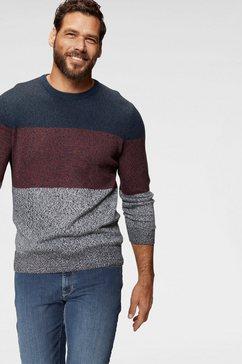 man's world trui met ronde hals meerkleurig blauw