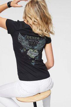 arizona shirt met v-hals »print achter met strassteentjes« zwart