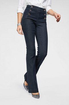 arizona wijd uitlopende jeans »flare - met logoknopen voor« blauw