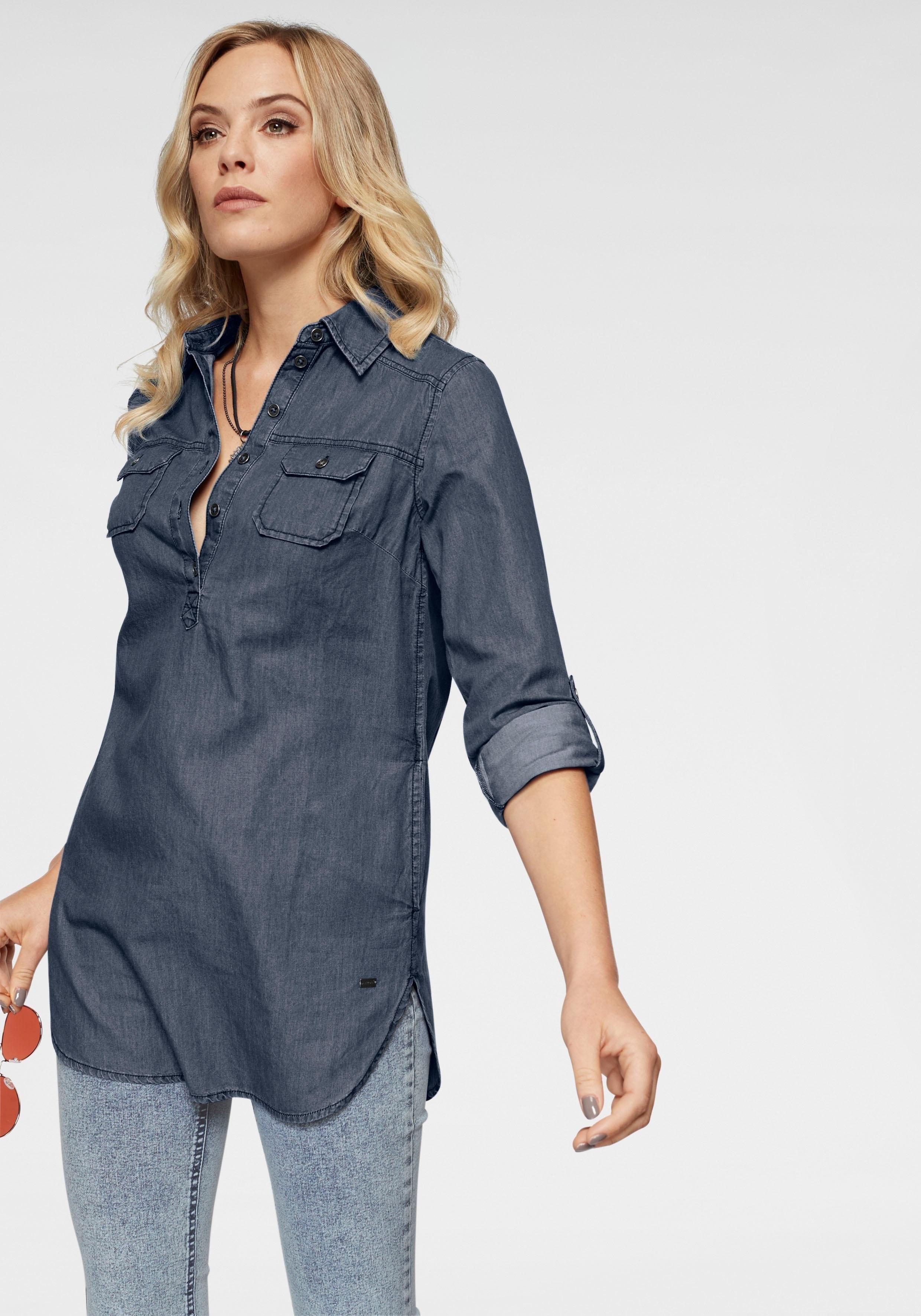 ARIZONA jeansblouse »Oprolbare mouwen met trensje« nu online kopen bij OTTO