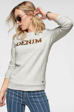 arizona sweatshirt »met glanzende keerbare pailletten« beige