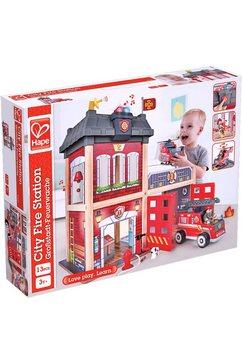 hape speelgoed-brandweerkazerne grote stad-brandweerkazerne houten multicolor